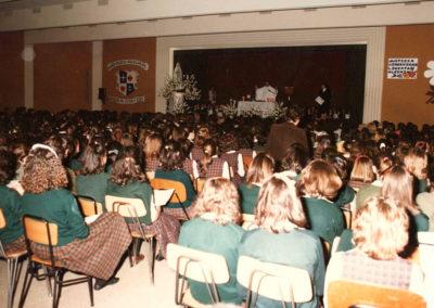 El salón de actos del Colegio BVM de El Soto en los años 70.