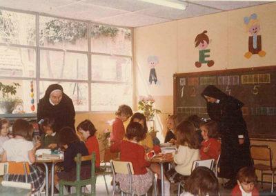 Clases en los años 70 en el colegio BVM de El Soto.